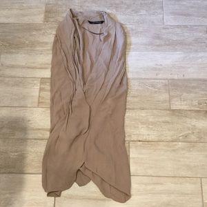 ZARA tan sleeveless low cut dress